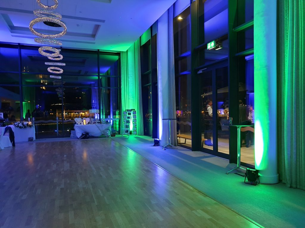 Wedding Uplighting Hire Rental Uplighters LED Colours Indoor Exeter Southampton